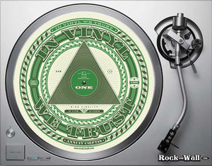 """In Vinyl We Trust"" Felt turntable slip mat on turntable"