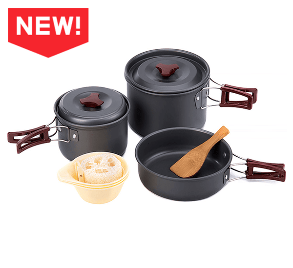 Camping Cooking Set Pots Cookware - 3Pcs