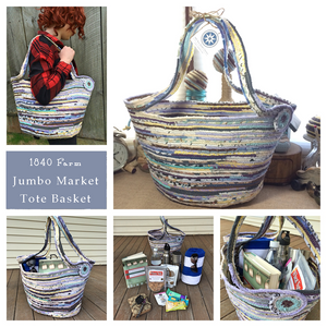 Jumbo Market Tote Basket Collage at 1840 Farm