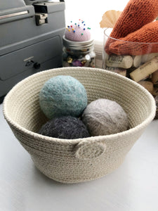 Set of Three 100% Wool Handmade Dryer Balls with Optional Cottage Basket