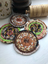 Load image into Gallery viewer, Set of Four Coasters in Fall Fabrics