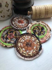 Set of Four Coasters in Fall Fabrics