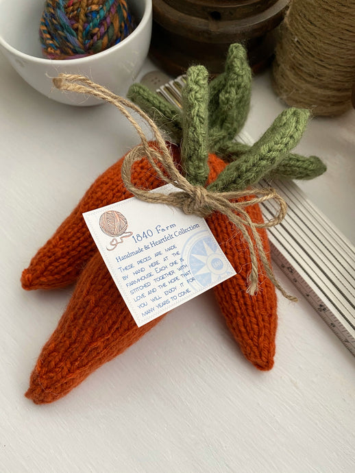 Hand-Knit Carrots