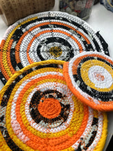 Load image into Gallery viewer, SALE - Traditional Flat Trivet Set in Halloween Candy Corn Fabric Theme