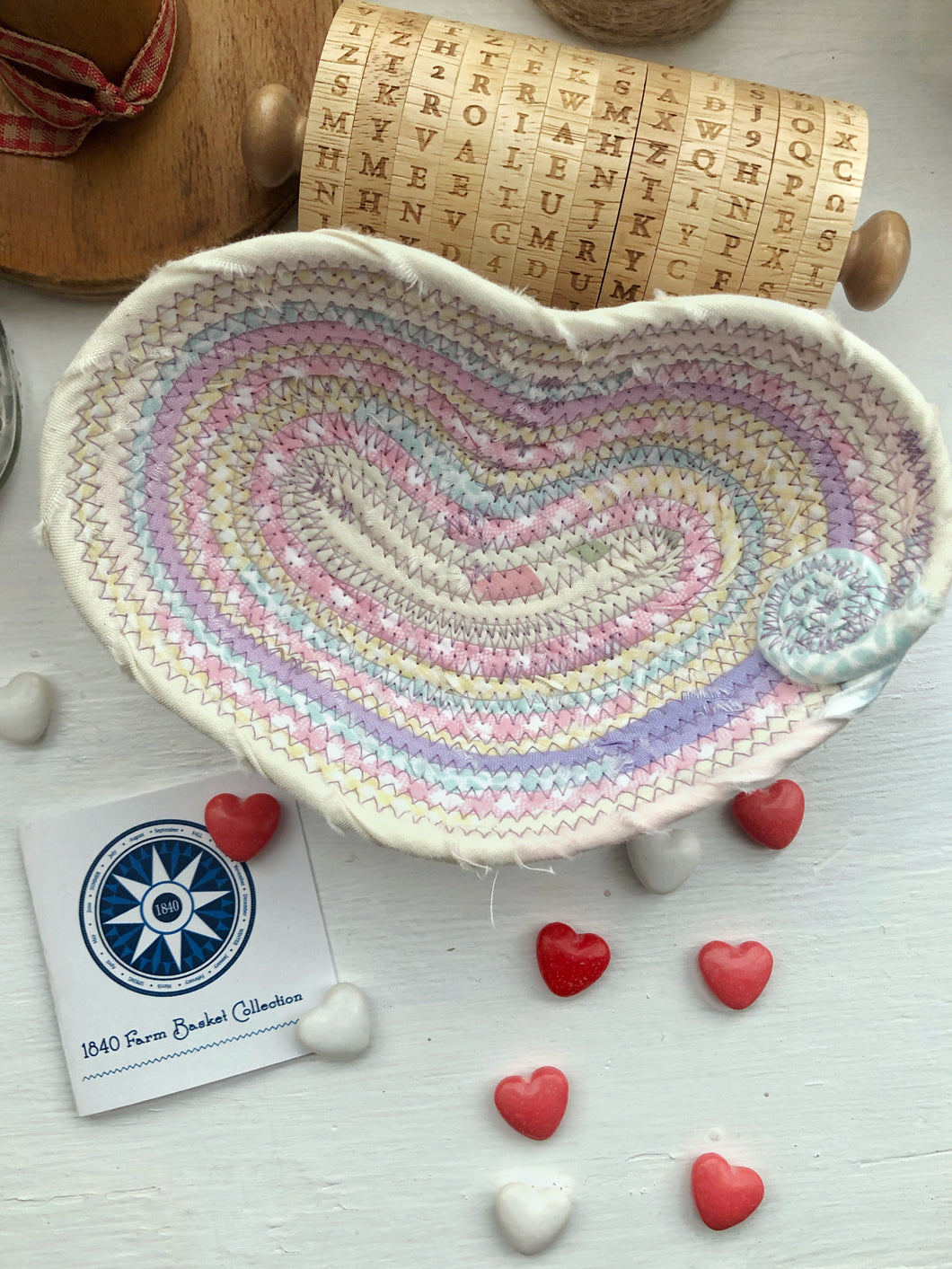 Small Heart Shaped Table Basket #1443- Ships FREE*