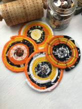 Load image into Gallery viewer, SALE - Set of Four Coasters in Halloween Candy Corn Fabric Theme
