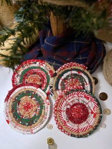 Set of Four Coasters in Holiday Fabrics