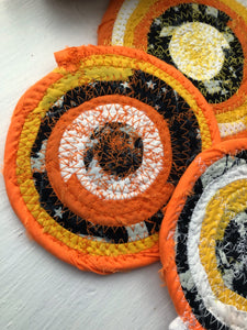 SALE - Set of Four Coasters in Halloween Candy Corn Fabric Theme