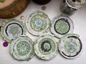 Set of Six Coasters in Spring Green Fabrics