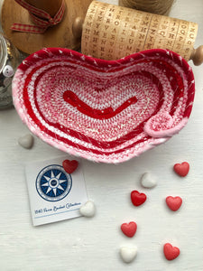 BARN SALE - Small Heart Shaped Table Basket #1437