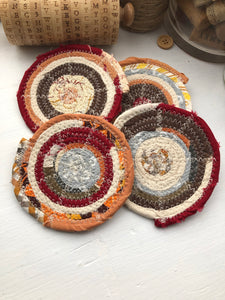 Set of Four Coasters in Fall Fabric Theme