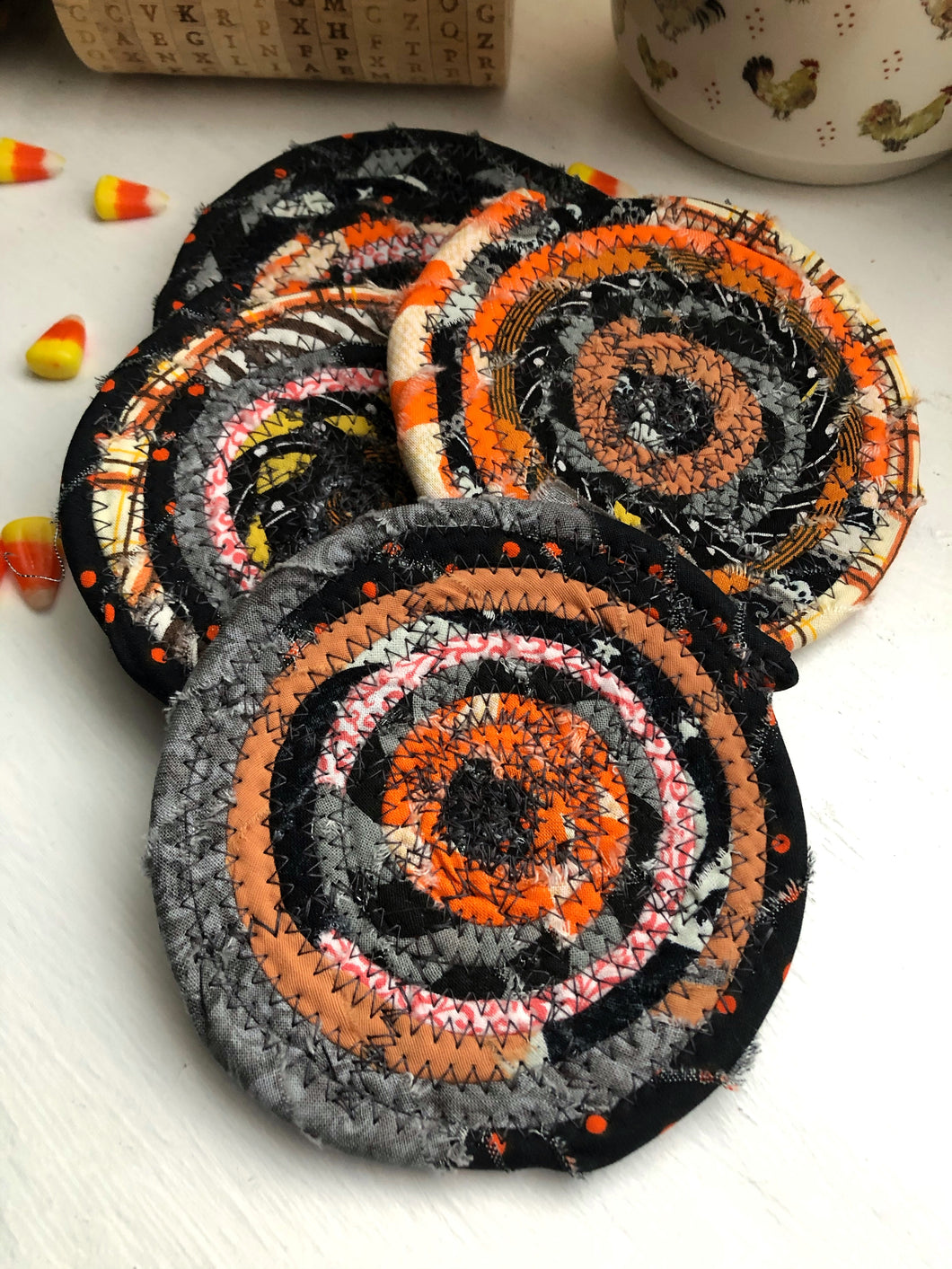 Set of Four Coasters in Halloween Fabrics