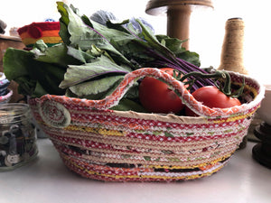 Made to Order Jumbo Market Tote Basket in Garden Harvest Theme