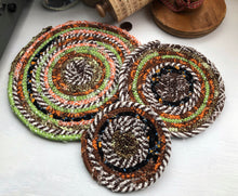 Load image into Gallery viewer, SALE - Traditional Flat Trivet Set in Fall Fabrics