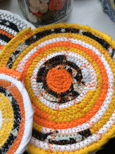SALE - Traditional Flat Trivet Set in Halloween Candy Corn Fabric Theme