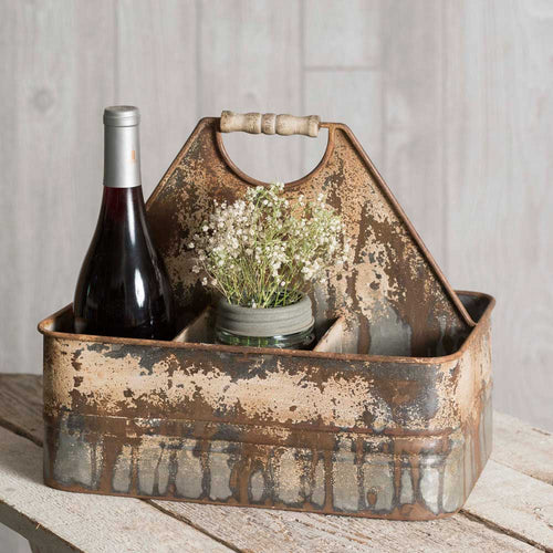 Sale! Rustic Divided Caddy with Wood Handle