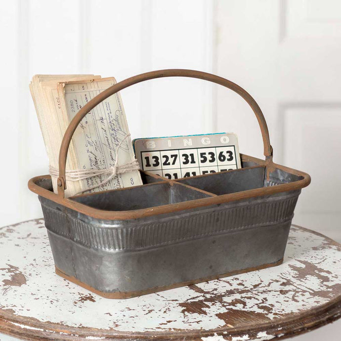 Galvanized Divided Bingo Basket