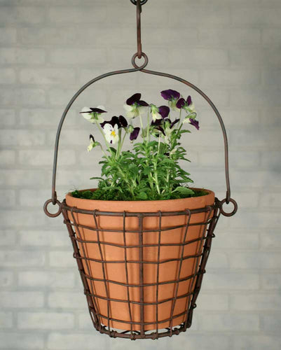 Round Hanging Basket with Terra Cotta Pot - Green/Rust