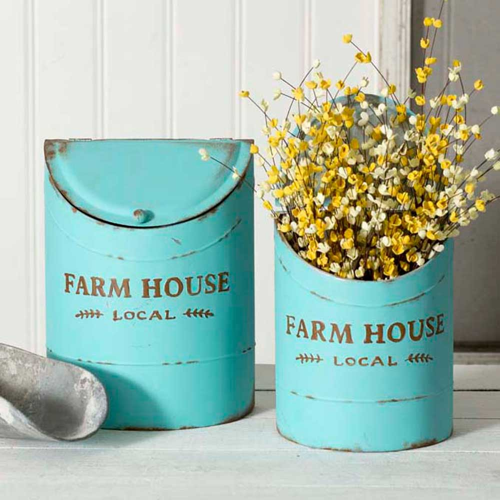 Set of Two Tiffany Blue Farmhouse Kitchen Bins