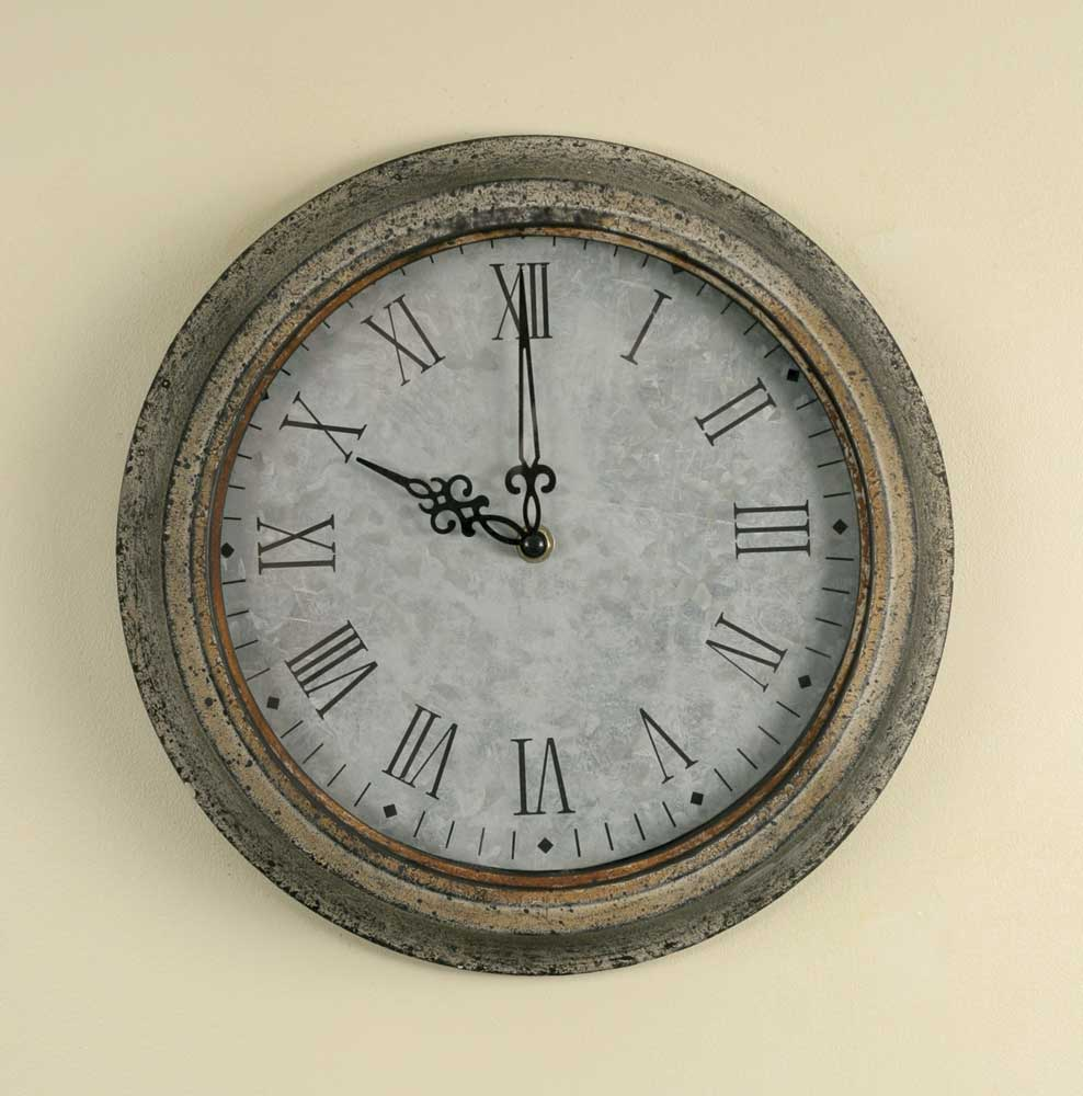Galvanized Light Gray Wall Clock