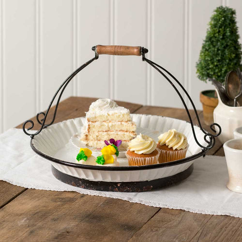 White Cake Carrier with Handle