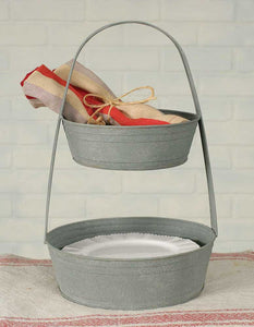 Rustic Farmhouse Two Tier Metal Tote