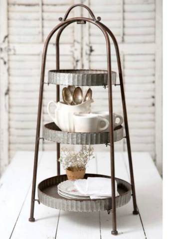 Large 3-Tiered Serving Tray | Rustic, Decorative Galvanized Metal | Home Farmhouse Décor