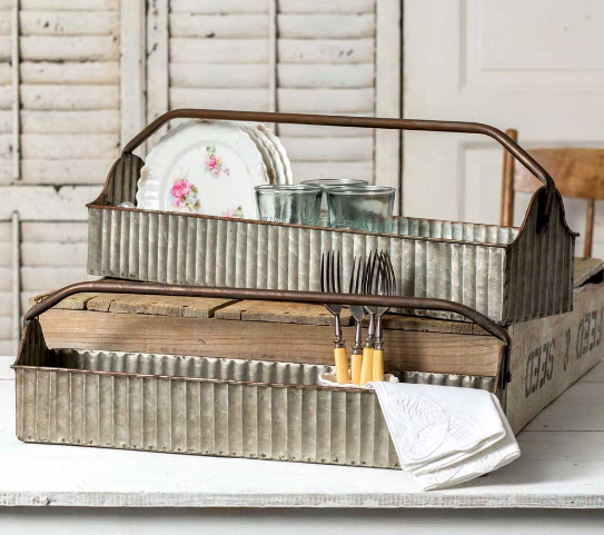 Farmhouse Industrial Galvanized Steel Tray Carriers