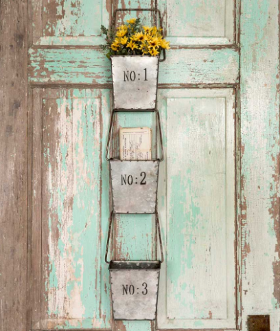 Industrial Farmhouse Set of Three Hanging Wall Pockets for Kitchen, Bath, Indoor/ Outdoor