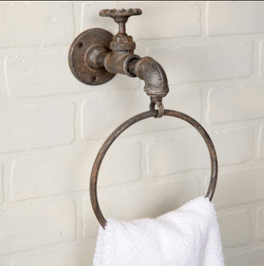 Unique Vintage Water Faucet Spigot Towel Ring - set of 2