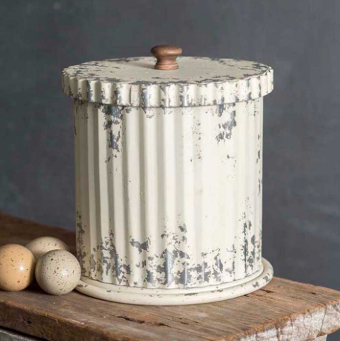 Distressed Metal Whitewash Canister with Lid