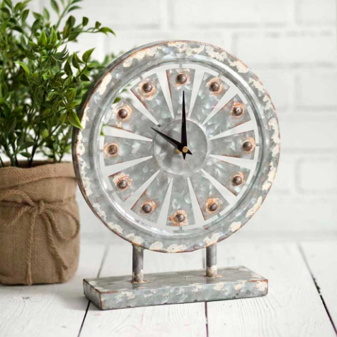 Farmhouse Table Top Tin Windmill for Rustic Decor (Small)