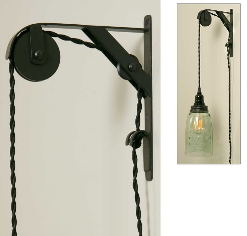 Industrial Double Sheave Pendant Lamp Bracket - set of 2