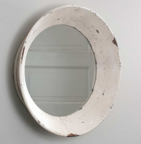 Dutch Antiqued Round Wall Mirror