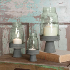 Mason Jar Chimney with Stand - Set of 3