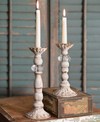Distressed Antiqued White Set of Two Chrissy Taper Candle Holders