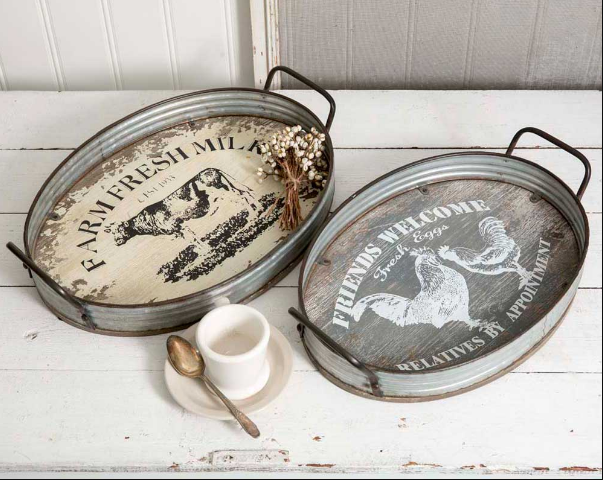 Vintage Farmhouse Rustic Country Set of Two Farmhouse Oval Serving Trays