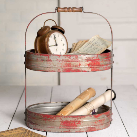 Weathered Red/Grey Two Tier Serving Caddy/Tray-Industrial Farmhouse Chic