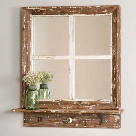 Rustic Cottage Window Wall Mirror with Shelf