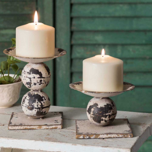 Distressed Antiqued White Set of Two Spheres Pillar Candle Holders