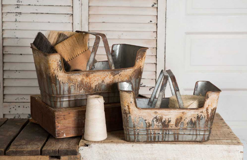Decorative Rustic Shopping Baskets with Handles, set of 2