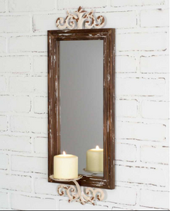 Rustic Natural Wood Framed Wall Mirror with Pillar Candle Scone