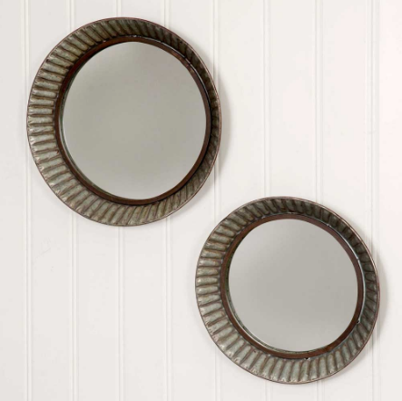 Rustic Round Galvanized Pie Tin Mirror - Set of 2
