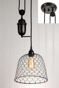 Chicken Wire Dome Pulldown Pendant Lamp - Barn Roof
