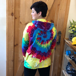 Uni-Sex Tie Dye Hoodie with logo front and ff on sleeve.