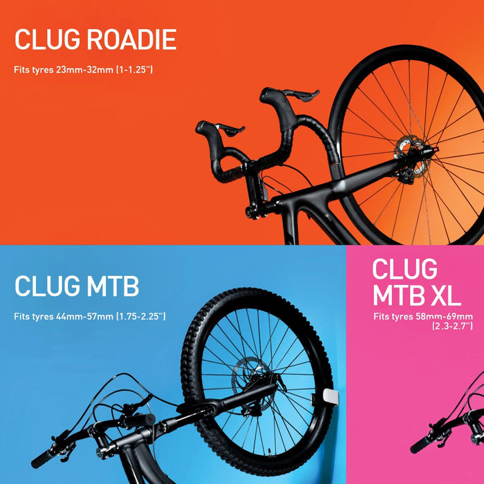 "CLUG World's smallest Bicycle Stand - Mountain bike ""MTB XL"" for large tires 58mm - 69mm 12 month warranty applies Hornit"