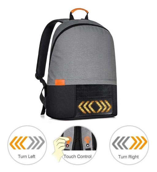 Cycling Backpack with LED Lighting indicators - Grey