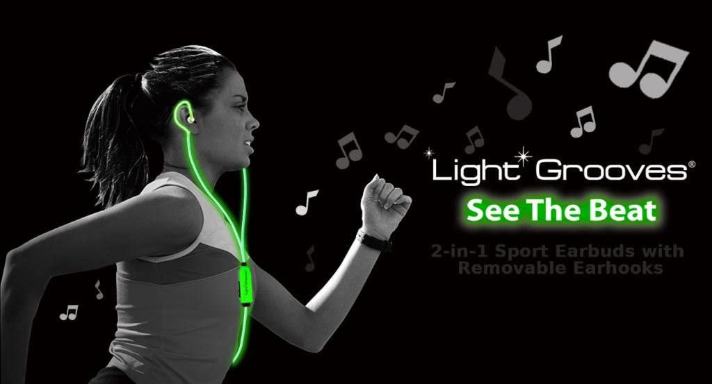 Light Grooves Sports Earbuds : Earphones that light up & flash to the beat NEON GREEN
