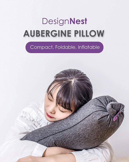 Aubergine Travel Pillow - Ultra Compact 12 month warranty applies Allocacoc