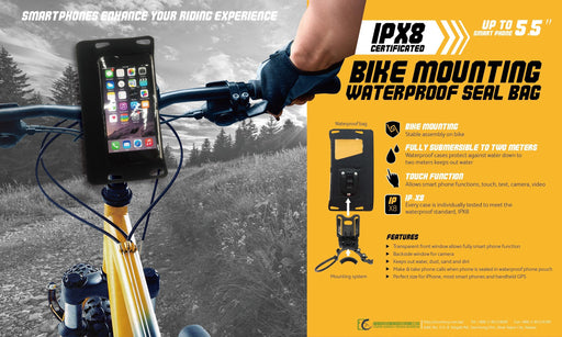 "IPX8 Bike Mount Waterproof Sealed Bag for Smartphones upto 5.5"" (RED)"